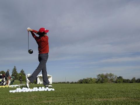 Preparação para o evento de golfe Albertsons Boise Open