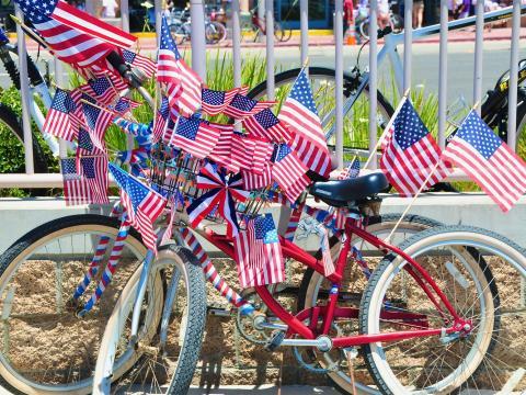 Bicicleta patriota durante a Celebração do Dia da independência