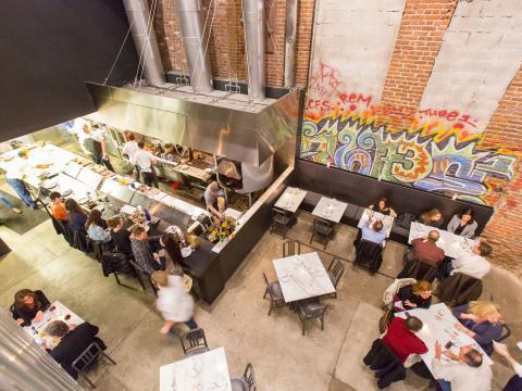 Vista aérea dos restaurantes no Acorn